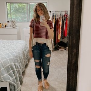 Free People striped french kiss hi-lo blouse #72
